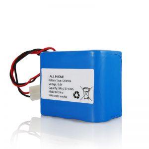 Batteria ricaricabile al litio LiFePO4 da 6,4 V 12 Ah 26650 32650 con connettore per luce solare